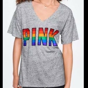 NWT Victoria Secret Pink Rainbow Logo V Neck